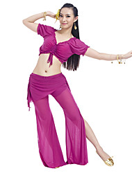 Belly Dance Outfits Women's Training Nylon Spandex Ruffles Short Sleeve Natural