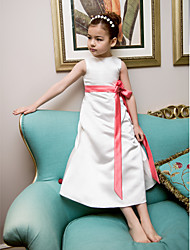 A-Line Princess Tea Length Flower Girl Dress - Satin Sleeveless Jewel Neck with Ribbon by LAN TING BRIDE®