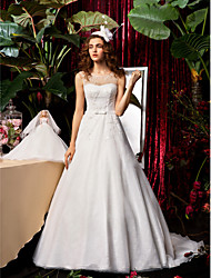 cheap -A-Line / Princess Jewel Neck Sweep / Brush Train Chiffon / Lace Made-To-Measure Wedding Dresses with Bowknot / Beading / Sash / Ribbon by / See-Through