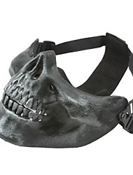 cheap -SILVER GRAY HALF FACE SKELETON MASK