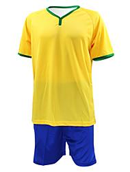 KOOPLUS® Homens Futebol Shorts shirt + Conjuntos de Roupas/Ternos Primavera Verão Outono Clássico Poliéster Futebol Amarelo