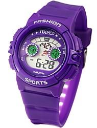 Недорогие -Time100 Детская цветастого LCD Открытый цифровой циферблат Спорт PU Группа Электронные часы