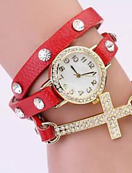 levne -Werolex Diamonade křížové Kožené Alloy hodinky WB0513005