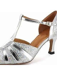 Latin/Salsa Dance Shoes Women's Leatherette Sparkling Silver Color Ballroom Shoes Customizable