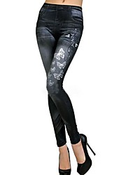 Women's Elastic Butterfly Printing Imitation Jeans Leggings
