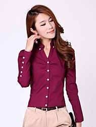 cheap -Women's Casual Plus Size Cotton Shirt - Solid Colored Shirt Collar / Spring / Summer