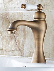 cheap -Traditional Centerset Ceramic Valve One Hole Single Handle One Hole Antique Brass, Bathroom Sink Faucet