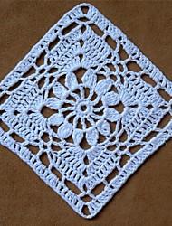 Недорогие -12pcs/set, Белый хлопок ручной работы Квадратные крючком салфетки Coaster