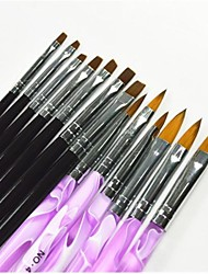 economico -13 PCS Black & Color Purple Pittura Disegno Nail Art Pen & Pennelli Set per manicure UV Gel & punte false acrilico