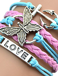 cheap -Women's Leather Multi Layer Butterfly Anchor Leather Bracelet Wrap Bracelet ID Bracelet - Unique Design Love Heart Animal Anchor Pink /