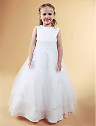 cheap -A-Line Princess Floor Length Flower Girl Dress - Satin Tulle Sleeveless Jewel Neck with Beading Appliques Bow(s) Pearl Detailing Flower by