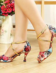 Недорогие -Женская Цветочный печати атласа верхней Крест лодыжки танцевальная обувь Сандалии больше цветов