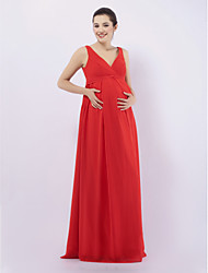 Sheath / Column V-neck Straps Floor Length Chiffon Bridesmaid Dress with Draping by LAN TING BRIDE®