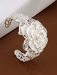 Недорогие -вилин женский вырез цветок серебряный браслет классический женский стиль