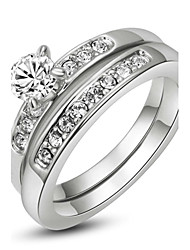 cheap -18K White/Rose Gold Plated with Pave Band 0.5ct Brilliant Cubic Zirconia Wedding Ring Set