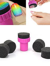 1PCS Manicure Svamp Nail Art Stamper Tools med 4PCS Svamp Nail til Gradient Color Nail Art