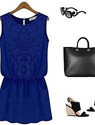 Damen Etuikleid Kleid-Lässig/Alltäglich Einfach Solide Rundhalsausschnitt Mini Ärmellos Baumwolle Polyester Sommer Tiefe Hüfthöhe