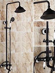 Недорогие -Смеситель для душа - Античный Начищенная бронза Душевая система Керамический клапан Bath Shower Mixer Taps / Латунь / Две ручки три отверстия