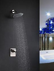 abordables -Grifo de ducha - Moderno Níquel Cepillado Solo ducha Válvula Cerámica / Latón / Sola manija Dos Agujeros