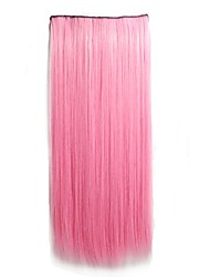 cheap -Light Pink Clip in Hari Extensions Long Straight Hairpieces