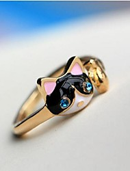 cheap -Women's Imitation Diamond Alloy Cat Statement Ring - Cat Animal Personalized Luxury Fashion Dark Blue Ring For Party Daily Casual