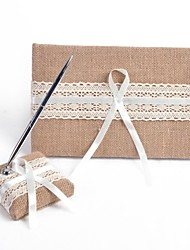 cheap -Guest Book Pen Set Linen Garden ThemeWithBowknot Ribbons Pen Set Guest Book