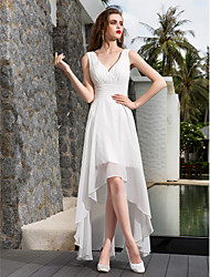 cheap -A-Line V Neck Asymmetrical Georgette Made-To-Measure Wedding Dresses with Ruched / Side-Draped by LAN TING BRIDE® / Little White Dress