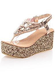 Feminino Sapatos Courino Primavera Verão Anabela Plataforma Presilha Para Casual Prateado Dourado