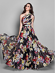 cheap -Sheath / Column One Shoulder Floor Length Chiffon Formal Evening / Holiday Dress with Pattern / Print / Ruched by TS Couture®
