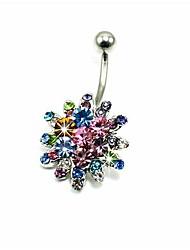 lureme®316l anneau nombril chirurgicales de colorfulflowers de cristal de titane acier
