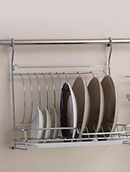 baratos -Aço inoxidável Cavalete de cozinha dobráveis Bandejas de armazenamento com 24inch Hanging Rod E 5 Ganchos