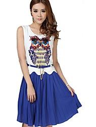 baratos -ORG das Mulheres Versão Coreana Chiffon Coruja mangas padrão de vestido
