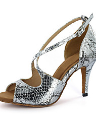 cheap -Women's Latin Ballroom Leatherette Sandal Buckle Stiletto Heel Silver Gold Customizable