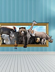 3D The Animal Wall Stickers Vægoverføringsbilleder