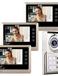 "cheap -7"" LCD Touch Key Video Door Phone Doorbell Home Entry Intercom for 3 Families"