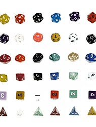 cheap -Dungeons and Dragons Game 15-20MM D4 D6 D8 D10 D12 D20 Dice Color Random (6pcs/Set)