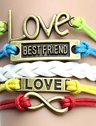 Tecido pulseira amigo Handmade Vintage e colorido com letras de amor Melhor