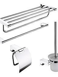 Недорогие -4-упакованы нержавеющей стали банные принадлежности набор, вешалка для полотенец / полка ванной / бумага держатель / держатель щетки
