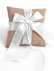 Linen Ribbon Bow Wedding Ring Pillow
