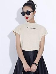 Tee-shirt Aux femmes,Couleur Pleine Eté Manches Courtes Blanc / Beige Coton Moyen