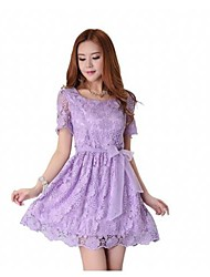Kvinder round Bow Solid Color kortærmet Lace Short Dress
