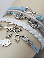 Occident Coruja Moda Vintage e pulseira de couro folhas tecido PU