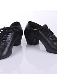 cheap -Men's Modern Shoes / Practice Shoes / Ballroom Shoes Leatherette Heel Chunky Heel Non Customizable Dance Shoes Black / Black