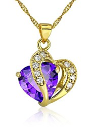 cheap -Women's Heart Love Heart Pendant Necklace Cubic Zirconia Gold Plated Pendant Necklace , Wedding Party Thank You Daily Valentine