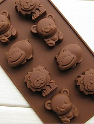 cheap -8 Bear Lion Hippopotami Animal Cake Mold