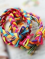 Contraste Couleur tissé à la main bandes de cheveux élastique version large Twist Braid Rope (couleur aléatoire)