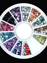 600pcs 12colours forma di stella chiodo ruota strass acrilico decorazione di arte