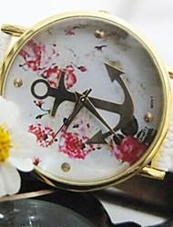 Для женщин золото Якорь Цветок кожаный ремешок Quatz Смотреть Разные цвета