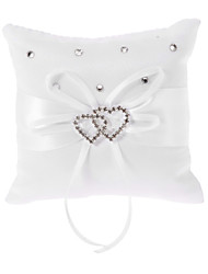 Pure White Ring Pillow In White Bowknot Satin With Heart Shaped Rhinestone