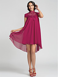 cheap -Sheath / Column High Neck Asymmetrical Chiffon Bridesmaid Dress with Lace by LAN TING BRIDE®